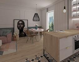 Mieszkanie Warszawa 2018 - Mała otwarta szara różowa kuchnia jednorzędowa w aneksie, styl nowoczesny - zdjęcie od MJ Design Monika Juszczel