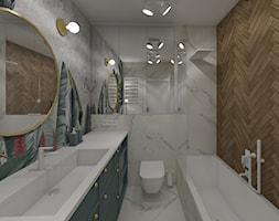 Osiedle Kopernika Ostrowiec Św. 2018 - Średnia biała beżowa łazienka w bloku w domu jednorodzinnym bez okna, styl nowoczesny - zdjęcie od MJ Design Monika Juszczel