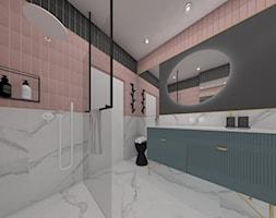 Mieszkanie Warszawa 2018 - Średnia czarna łazienka w bloku w domu jednorodzinnym bez okna, styl nowoczesny - zdjęcie od MJ Design Monika Juszczel