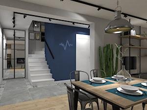 Dom jednorodzinny pod Ostrowcem Św. 2018 - Duży niebieski szary hol / przedpokój, styl nowoczesny - zdjęcie od MJ Design Monika Juszczel