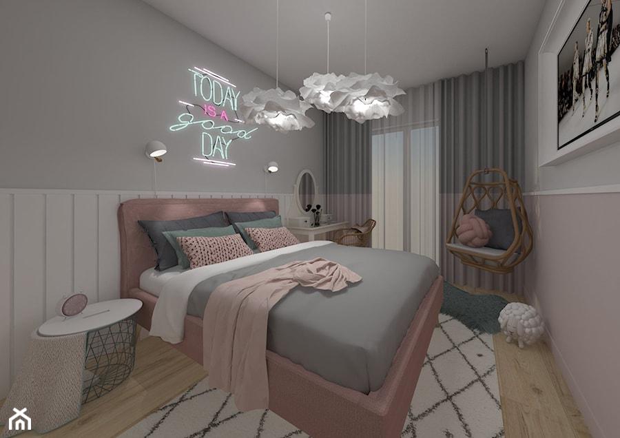 Mieszkanie Warszawa 2018 - Mała szara różowa sypialnia małżeńska, styl skandynawski - zdjęcie od MJ Design Monika Juszczel