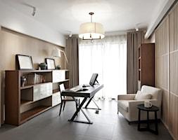 Mieszkanie kawalera - Średnie białe biuro kącik do pracy w pokoju, styl nowoczesny - zdjęcie od KPstudio