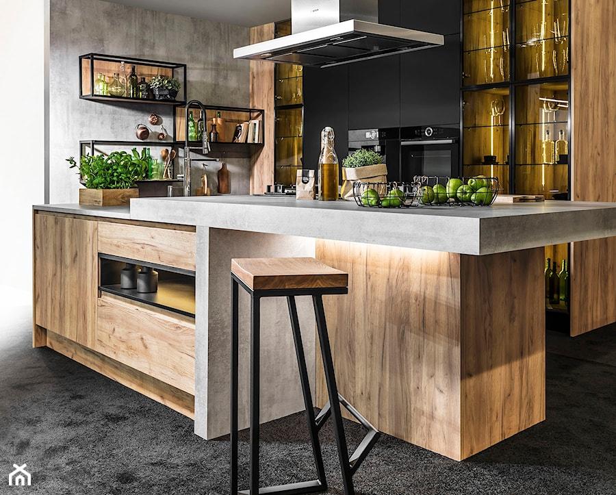 Nowoczesna kuchnia - Średnia otwarta biała szara kuchnia dwurzędowa - zdjęcie od STRAŻYŃSKI STUDIO