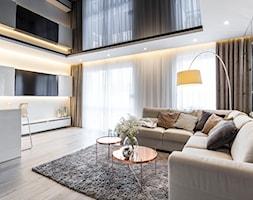 Mieszkanie w Zielonej Górze 2 - Duży beżowy salon z jadalnią - zdjęcie od STRAŻYŃSKI STUDIO - Homebook