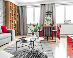 Mieszkanie w Zielonej Górze 3 - Duża otwarta szara jadalnia w salonie - zdjęcie od STRAŻYŃSKI STUDIO