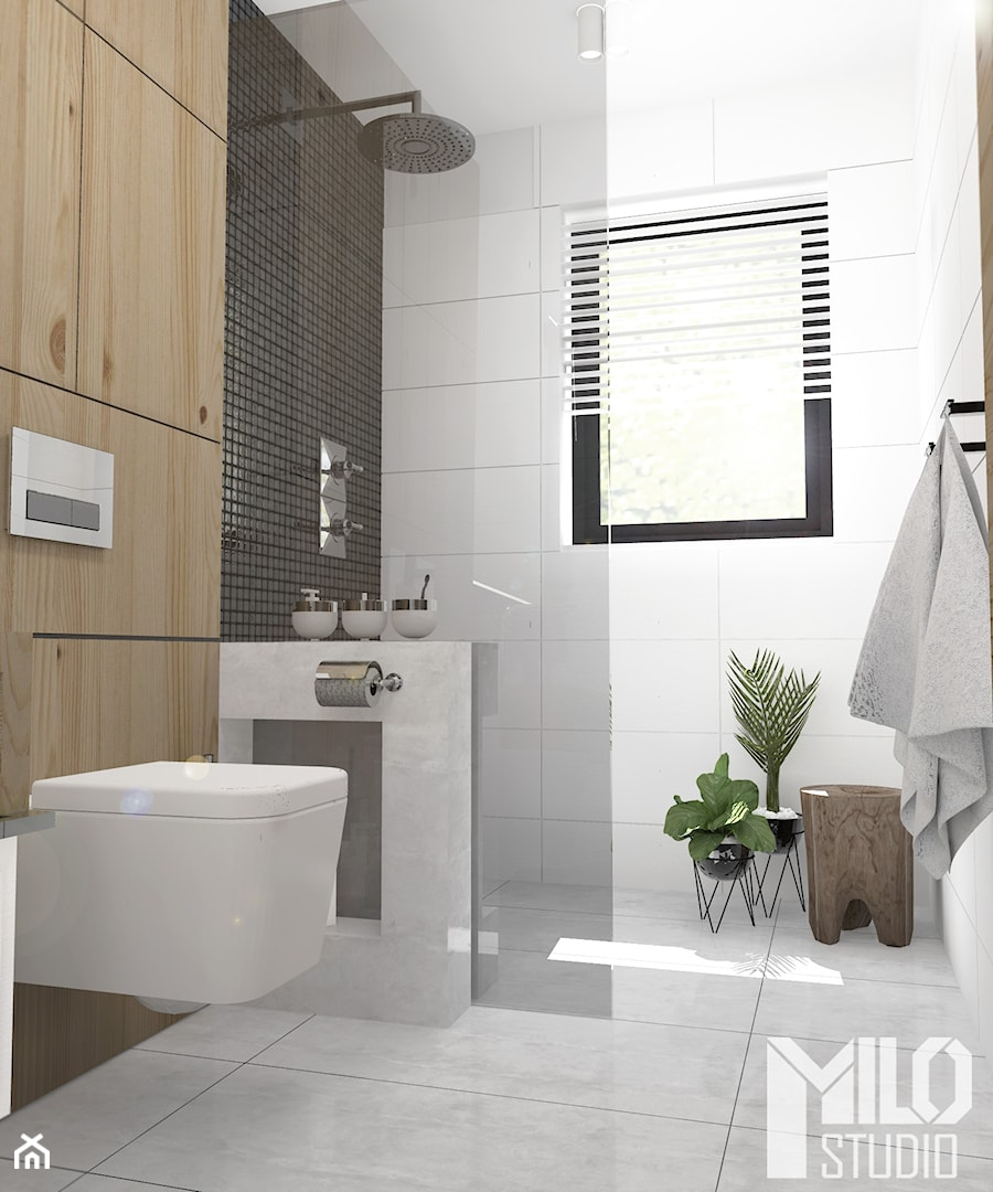 Jasna łazienka Z Czarną Mozaiką I Drewnem Zdjęcie Od Milo