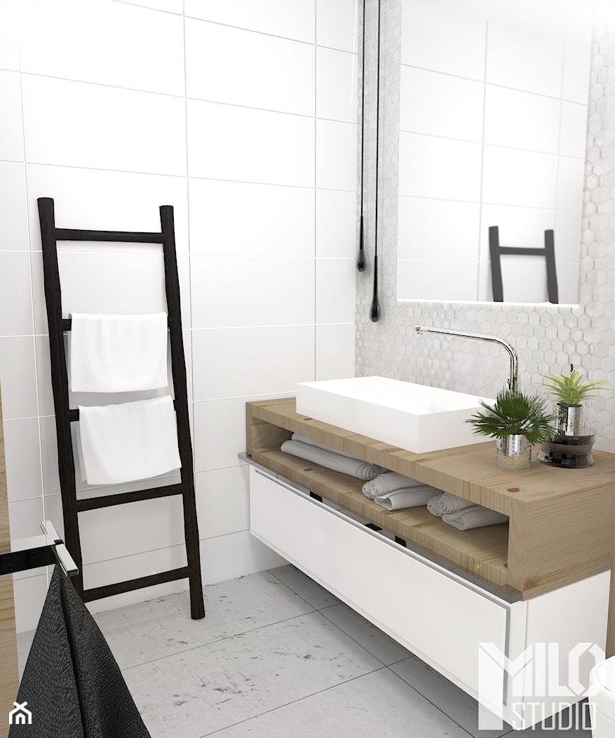 Jasna łazienka z betonem i drewnem - zdjęcie od MILO studio - Homebook