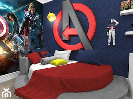 Aranżacje wnętrz - Pokój dziecka: Pokój chłopca w stylu Avengers - Średni biały niebieski pokój dziecka dla chłopca dla malucha dla na ... - MILO studio . Przeglądaj, dodawaj i zapisuj najlepsze zdjęcia, pomysły i inspiracje designerskie. W bazie mamy już prawie milion fotografii!