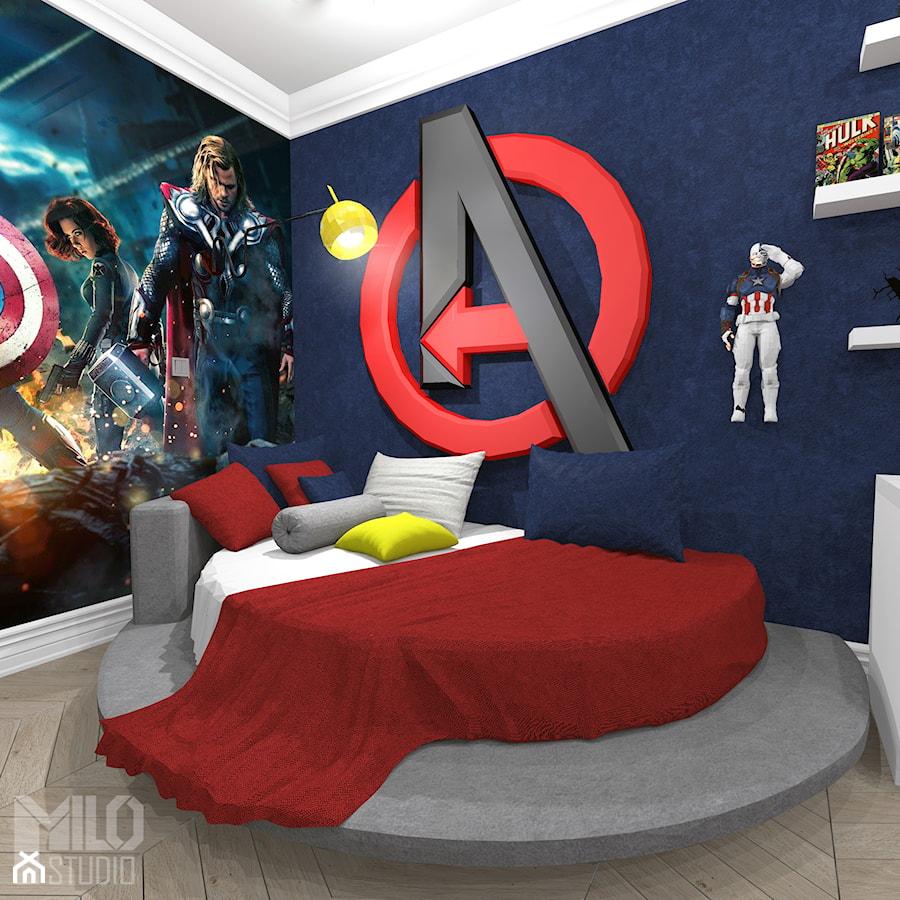 Aranżacje wnętrz - Pokój dziecka: Pokój chłopca w stylu Avengers - Średni biały niebieski pokój dziecka dla chłopca dla malucha dla nastolatka, styl klasyczny - MILO studio . Przeglądaj, dodawaj i zapisuj najlepsze zdjęcia, pomysły i inspiracje designerskie. W bazie mamy już prawie milion fotografii!