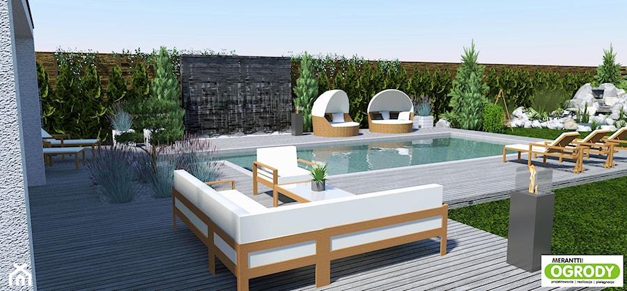 Projekt ogrodu z basenem 1000m2 w Szczytnie - zdjęcie od Merantti design Anna Koronowska