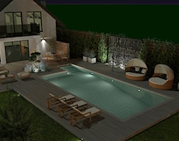 Projekt ogrodu z basenem 1000m2 nocą w Szczytnie - zdjęcie od Merantti design Anna Koronowska