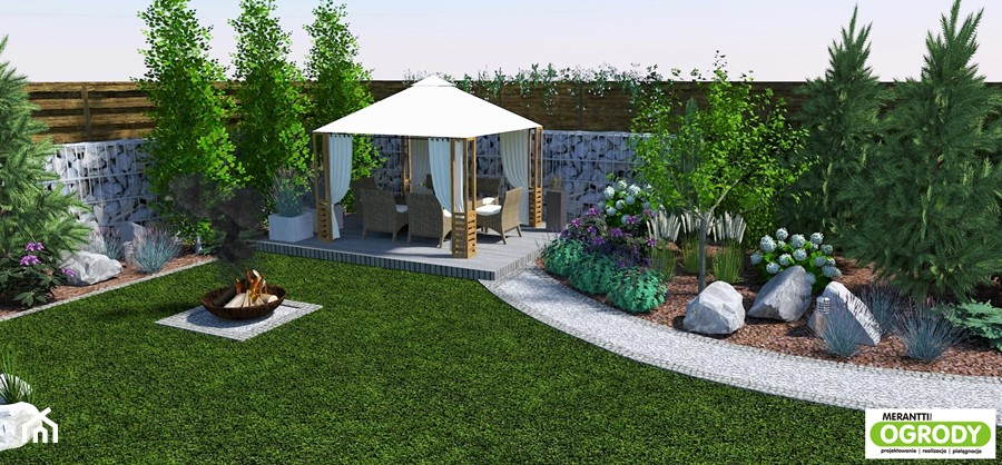 Aranżacje wnętrz - Ogród: Projekt ogrodu z basenem 1000m2 w Szczytnie - Merantti design Anna Koronowska. Przeglądaj, dodawaj i zapisuj najlepsze zdjęcia, pomysły i inspiracje designerskie. W bazie mamy już prawie milion fotografii!