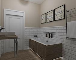 Aranżacja mieszkania - Mała biała beżowa łazienka w bloku w domu jednorodzinnym bez okna, styl tradycyjny - zdjęcie od IN DESIGN STUDIO