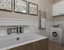 Aranżacja mieszkania - Średnia beżowa łazienka w bloku w domu jednorodzinnym bez okna, styl tradycyjny - zdjęcie od IN DESIGN STUDIO