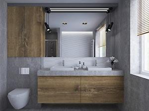 Łazienka - Średnia szara łazienka na poddaszu w bloku w domu jednorodzinnym z oknem, styl nowoczesny - zdjęcie od IN DESIGN STUDIO
