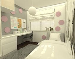 Dom jednorodzinny pod Łodzią - Mały biały szary pokój dziecka dla dziewczynki dla ucznia dla nastolatka, styl nowoczesny - zdjęcie od Am Design Studio projektowania wnętrz