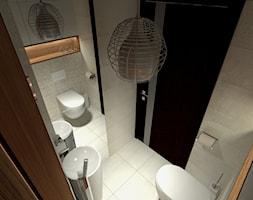 Projekt niewielkiej łazienki - Mała beżowa czarna łazienka w bloku bez okna, styl minimalistyczny - zdjęcie od Am Design Studio projektowania wnętrz