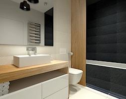 Łazienka - dom jednorodzinny Zduńska Wola - Mała beżowa czarna łazienka w bloku bez okna, styl minimalistyczny - zdjęcie od Am Design Studio projektowania wnętrz