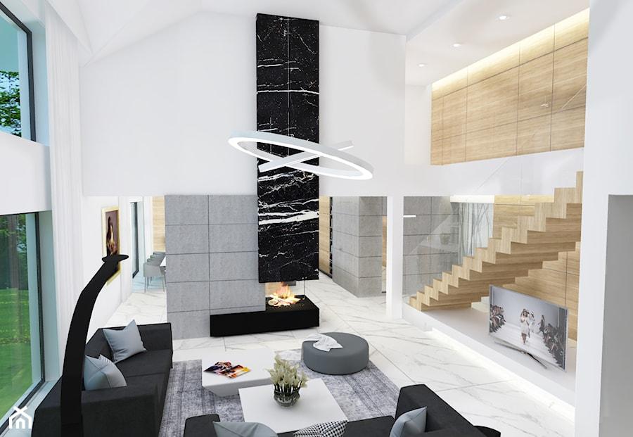 Dom jednorodzinny z antresolą Szczecin - Duży szary biały salon, styl nowoczesny - zdjęcie od 4Q Dekton Pracownia Architektoniczna