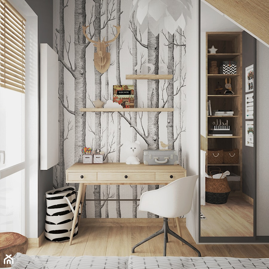 pokój dziecka z tapetą - Mały szary pokój dziecka dla chłopca dla ucznia dla nastolatka, styl skandynawski - zdjęcie od JUST studio projektowe