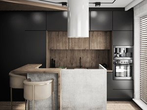 mieszkanie industrialne, Warszawa - Średnia beżowa kuchnia dwurzędowa w aneksie z wyspą z oknem, styl industrialny - zdjęcie od JUST studio projektowe