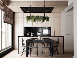 nowoczesna kuchnia w czerni i drewnie - Mała czarna kuchnia dwurzędowa z wyspą z oknem, styl nowoczesny - zdjęcie od JUST studio projektowe