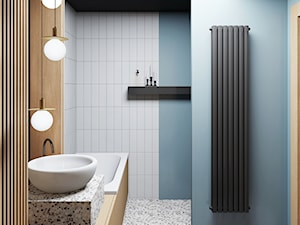 łazienka w drewnie - Średnia biała niebieska łazienka bez okna, styl nowoczesny - zdjęcie od JUST studio projektowe