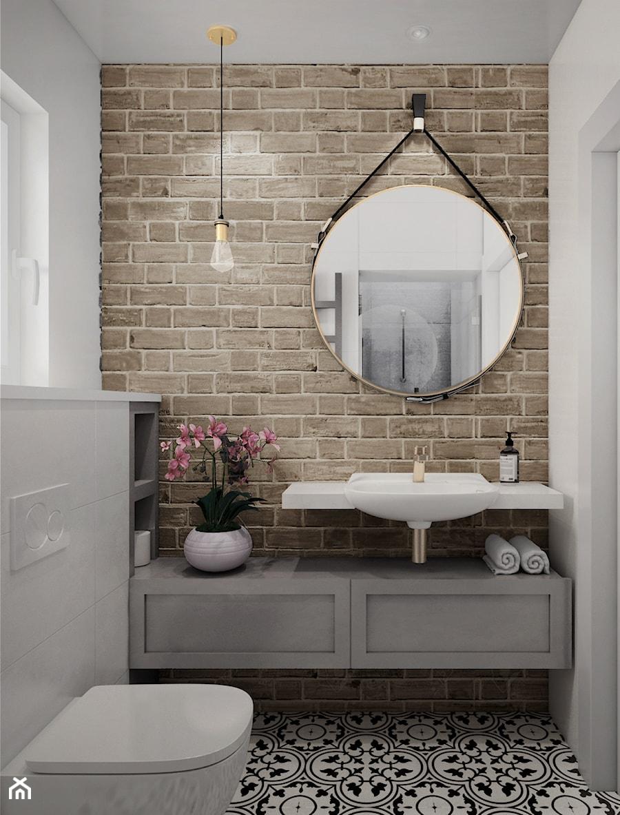 Aranżacje wnętrz - Łazienka: Mieszkanie z dodatkiem cegły - Mała szara łazienka w bloku w domu jednorodzinnym z oknem, styl eklektyczny - JUST studio projektowe. Przeglądaj, dodawaj i zapisuj najlepsze zdjęcia, pomysły i inspiracje designerskie. W bazie mamy już prawie milion fotografii!