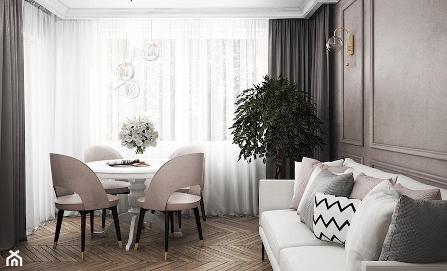 mieszkanie #13, Białystok - Mała zamknięta szara jadalnia w salonie, styl glamour - zdjęcie od JUST studio projektowe