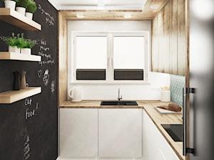 dom jednorodzinny, Gdańsk - Mała zamknięta biała kuchnia w kształcie litery l z oknem, styl nowoczesny - zdjęcie od JUST studio projektowe