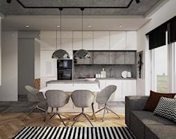 mieszkanie, Gdańsk - Średnia otwarta biała szara kuchnia jednorzędowa w aneksie z wyspą z oknem, styl nowoczesny - zdjęcie od JUST studio projektowe