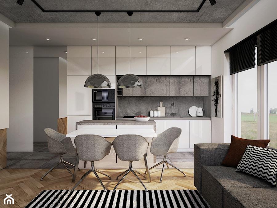 mieszkanie #7, Gdańsk - Średnia otwarta biała szara kuchnia jednorzędowa w aneksie z wyspą z oknem, styl nowoczesny - zdjęcie od JUST studio projektowe