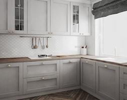 eleganckie i przytulne mieszkanie w Białymstoku - Średnia zamknięta biała kuchnia w kształcie litery u z oknem, styl glamour - zdjęcie od JUST studio projektowe