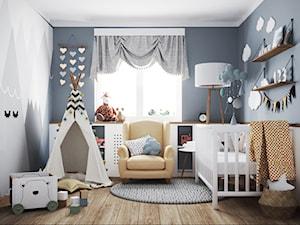 pokój dziecka - Średni szary pokój dziecka dla chłopca dla dziewczynki dla niemowlaka, styl vintage - zdjęcie od JUST studio projektowe