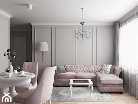 Aranżacje wnętrz - Salon: mieszkanie #18, Białystok - Średni szary biały salon z jadalnią, styl klasyczny - JUST studio projektowe. Przeglądaj, dodawaj i zapisuj najlepsze zdjęcia, pomysły i inspiracje designerskie. W bazie mamy już prawie milion fotografii!