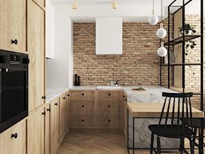 mieszkanie #15, Białystok - Średnia otwarta biała kuchnia w kształcie litery u, styl eklektyczny - zdjęcie od JUST studio projektowe