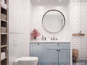 mieszkanie skandynawskie w Białymstoku - Średnia biała łazienka w bloku w domu jednorodzinnym bez okna, styl skandynawski - zdjęcie od JUST studio projektowe