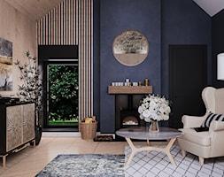 salon #3, Guernsey - Średni niebieski czarny salon z tarasem / balkonem, styl glamour - zdjęcie od JUST studio projektowe - Homebook