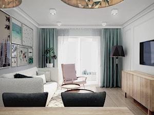 mieszkanie, Białystok 4 - Średni biały salon z jadalnią, styl skandynawski - zdjęcie od JUST studio projektowe