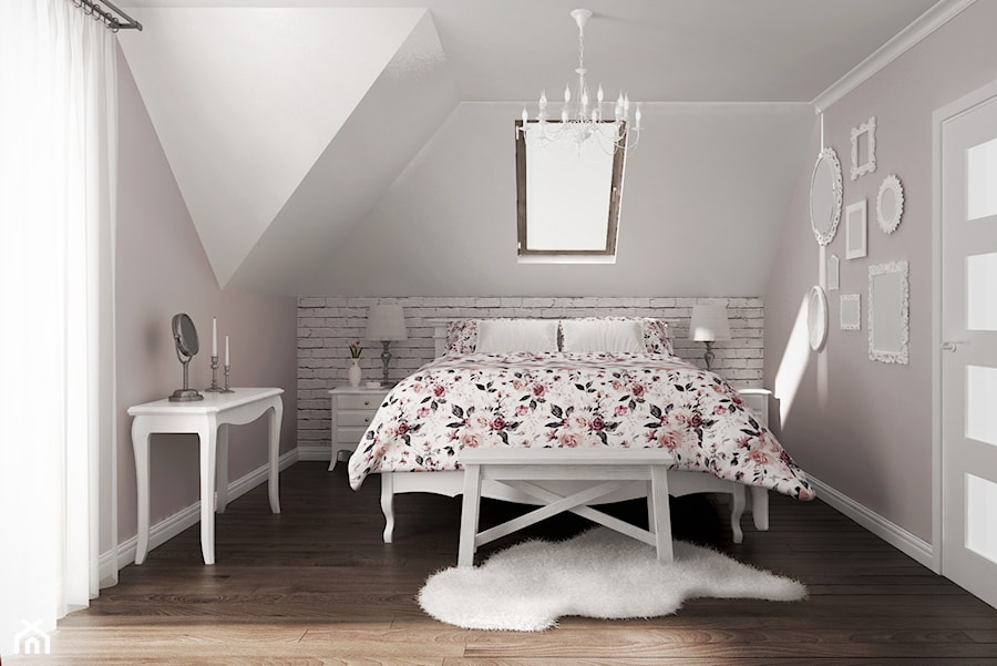 sypialnia #2, Wysokie Mazowieckie - Średnia szara sypialnia małżeńska na poddaszu, styl prowansalski - zdjęcie od JUST studio projektowe