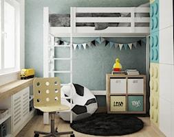 pokój chłopca - Mały biały szary pokój dziecka dla chłopca dla dziewczynki dla ucznia dla nastolatka, styl nowoczesny - zdjęcie od JUST studio projektowe