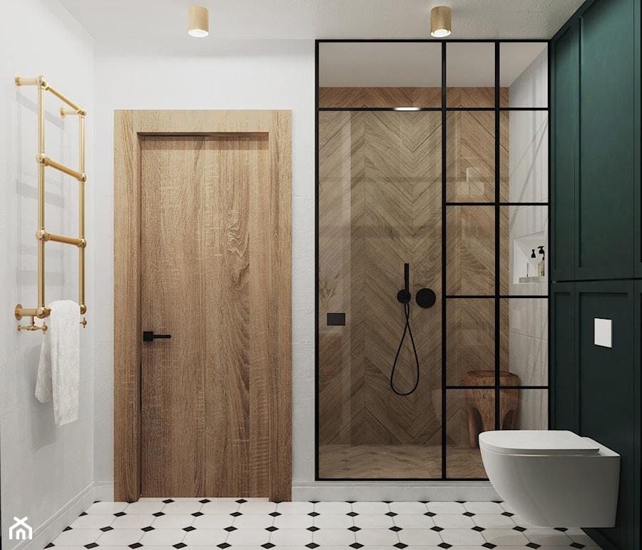 mieszkanie #15, Białystok - Średnia biała zielona łazienka bez okna, styl eklektyczny - zdjęcie od JUST studio projektowe