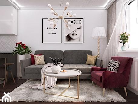 Aranżacje wnętrz - Salon: mieszkanie #9, Wasilków - Średni biały salon z kuchnią z jadalnią, styl glamour - JUST studio projektowe. Przeglądaj, dodawaj i zapisuj najlepsze zdjęcia, pomysły i inspiracje designerskie. W bazie mamy już prawie milion fotografii!
