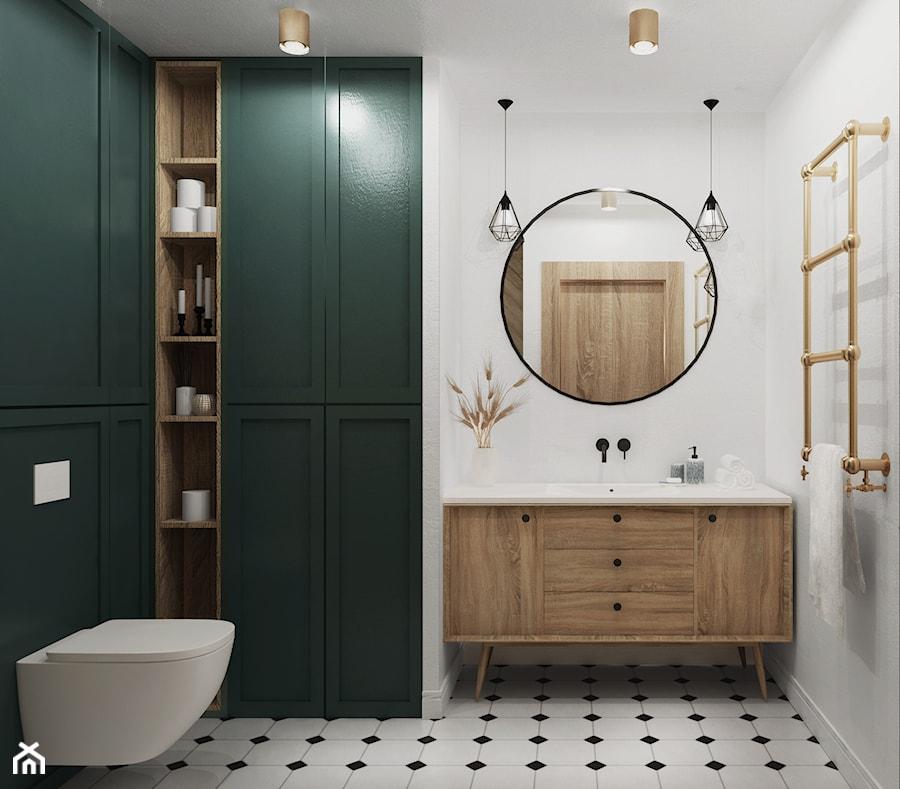 eklektyczne mieszkanie z butelkową zielenią i drewnem - Średnia biała zielona łazienka bez okna, styl eklektyczny - zdjęcie od JUST studio projektowe