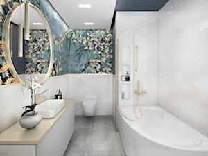 nowoczesny glamour - Mała niebieska szara łazienka na poddaszu w bloku w domu jednorodzinnym bez okna, styl glamour - zdjęcie od JUST studio projektowe