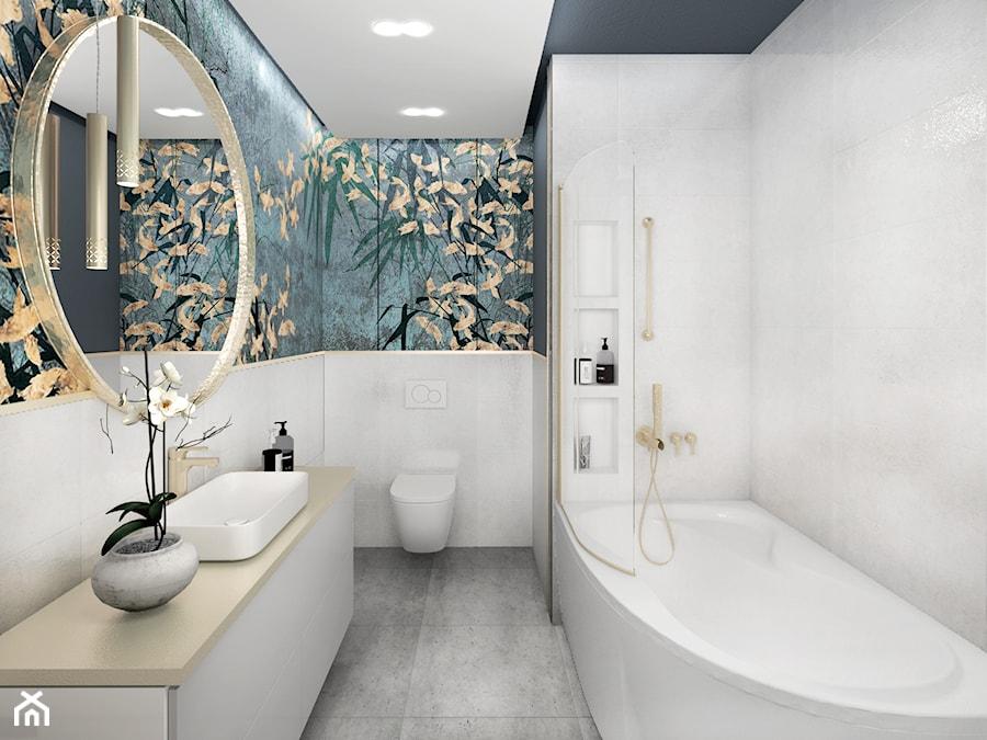 Aranżacje wnętrz - Łazienka: nowoczesny glamour - Mała niebieska szara łazienka na poddaszu w bloku w domu jednorodzinnym bez okna, styl glamour - JUST studio projektowe. Przeglądaj, dodawaj i zapisuj najlepsze zdjęcia, pomysły i inspiracje designerskie. W bazie mamy już prawie milion fotografii!