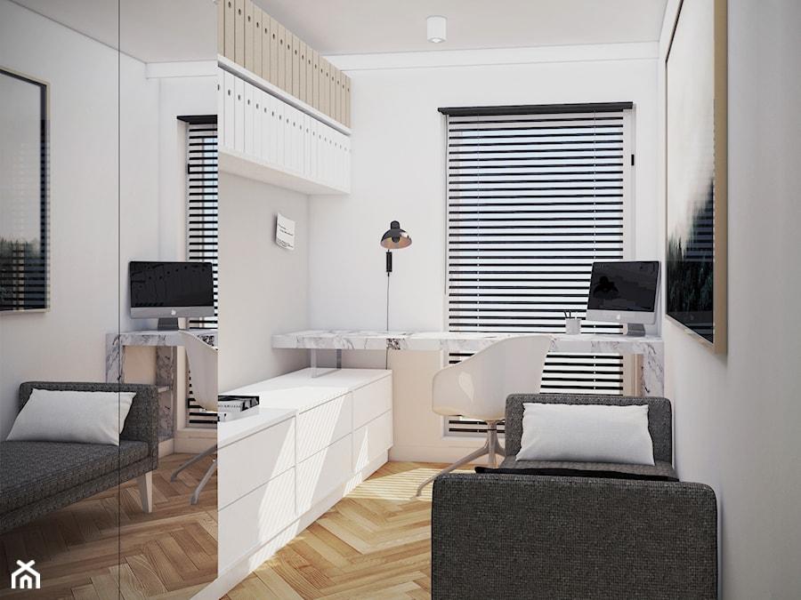 mieszkanie, Gdańsk - Małe białe biuro domowe kącik do pracy w pokoju, styl nowoczesny - zdjęcie od JUST studio projektowe