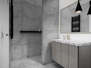 mieszkanie, Gdańsk - Średnia biała szara łazienka bez okna, styl nowoczesny - zdjęcie od JUST studio projektowe
