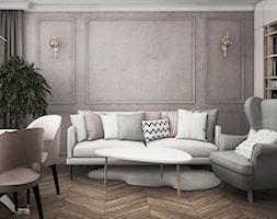 mieszkanie #13, Białystok - Średni salon z bibiloteczką z jadalnią, styl glamour - zdjęcie od JUST studio projektowe - Homebook