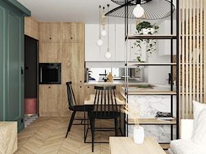 mieszkanie #15, Białystok - Średnia otwarta biała kuchnia w kształcie litery u w aneksie z oknem, styl eklektyczny - zdjęcie od JUST studio projektowe